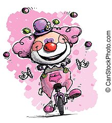 Clown on Unicycle Juggling Girlie Colors