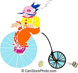 clown, op, oude fiets