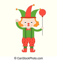 clown or joker with balloon, cute character, flat design professional concept