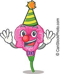 Clown petunia in a mascot flower basket vector illustration