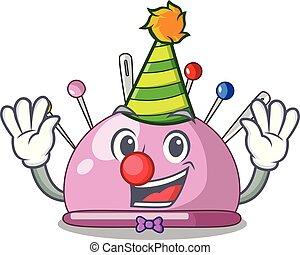 Clown pincushion a cartoon pins for sewing vector...