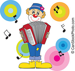 clown playing the accordion. Vector art-illustration on a...