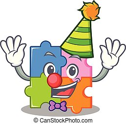 Clown puzzle mascot cartoon style