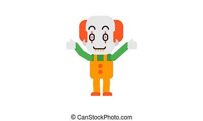 Clown rejoices raises his hands up. Halloween character. Alpha channel.