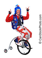 Clown Riding a Unicycle