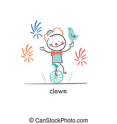 Clown riding a unicycle. Illustration.