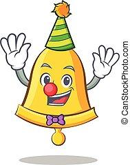 Clown school bell character cartoon