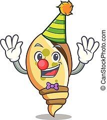 Clown sea shell mascot cartoon