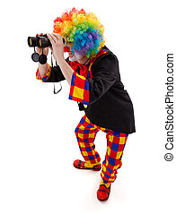 Clown searching with binoculars