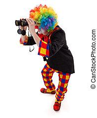 Clown searching with binoculars