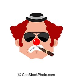 Clown Serious emotion face avatar. funnyman with cigar emoji. harlequin icon. Vector illustration