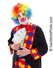 Clown showing big money