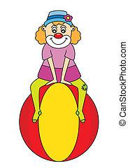 Clown sitting on a circus ball