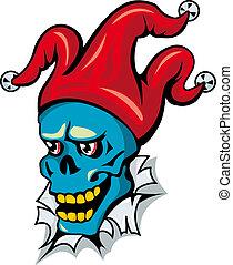 Clown skull in hat - Cartoon clown skull on torned paper for...