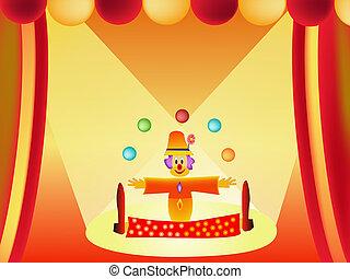 clown, spotprent, illustratie