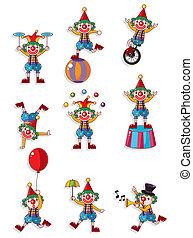 clown, spotprent, pictogram