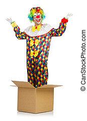 clown, springt, buiten de doos