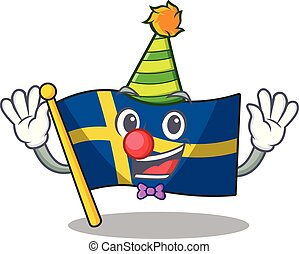 Clown swede flags flutter on character pole vector ...