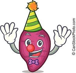Clown sweet potato mascot cartoon