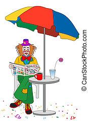 Clown tea time - Clowns coffee time, reading a newspaper...