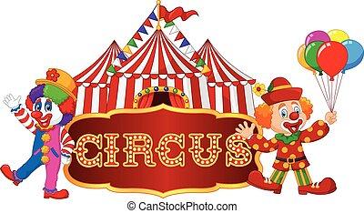 clown., tenda circus, isolato