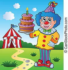 Clown theme picture 1 - vector illustration.