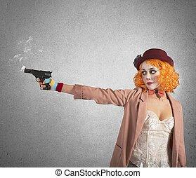 Clown thief shoots whit gun still smoking