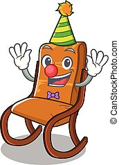 Clown toy rocking chair above cartoon table