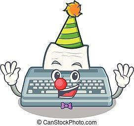 Clown typewriter in the a mascot closet