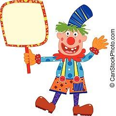 clown, vasthouden, meldingsbord
