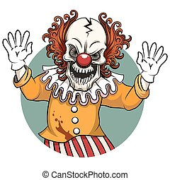 Clown vector illustration - Clown angry. Face horror and...