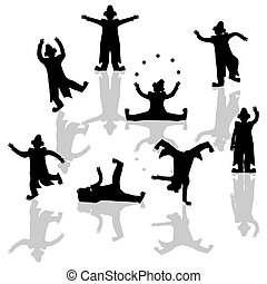 Clown vector silhouettes - Performing clowns silhouettes ...