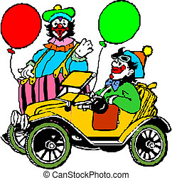 clown, voiture, sien