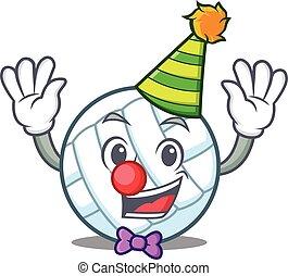 Clown volley ball character cartoon vector illustration