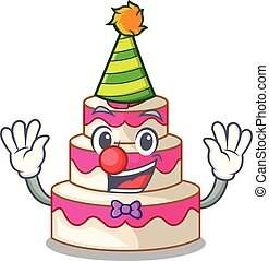 Clown wedding cake isolated with the mascot