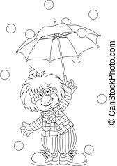Funny clown holding an umbrella, black and white outline vector illustration for a coloring book