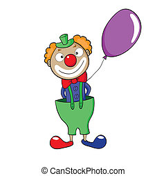 Clown with balloon - Vector illustration of smiling cartoon ...