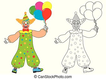 Clown with balloons. Coloring book. Activity for children.