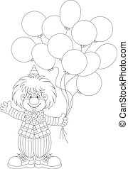 Funny clown holding balloons and waving his hand in greeting, black and white outline vector illustration for a coloring book