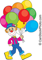 clown with balloons - funny clown with lots of balloons. ...