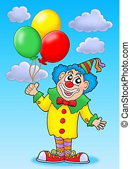 Clown with balloons on blue sky - color illustration.