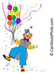Clown with balloons on white backgrounds