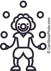 clown with balls vector line icon, sign, illustration on background, editable strokes