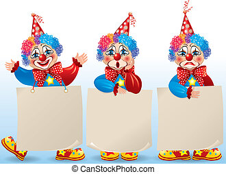 Clown with blank paper in different moods - Birthday set. ...