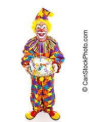 Clown With Cake - Full Body - Clown holding birthday cake....