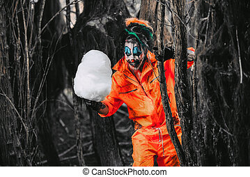 clown with candy-floss