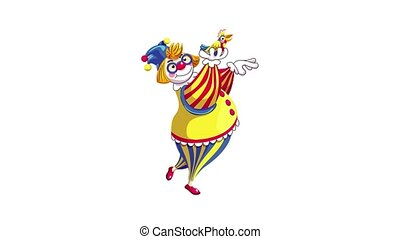 Clown with colorful parrot icon animation