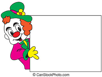 clown with empty board - funny clown with empty whiteboard