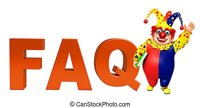 Clown with FAQ sign