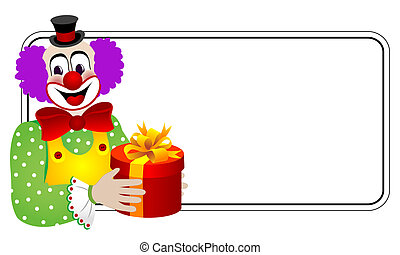 Clown with gift box